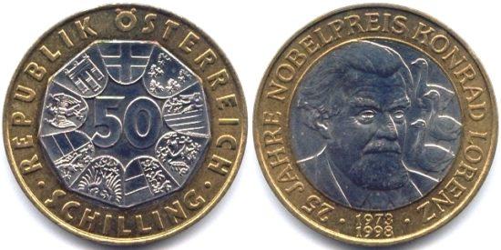 50 shillingov 1998 Avstriya Lorents 550x275 Конрад Захариас Лоренц   его взгляды, книги и серые гуси...