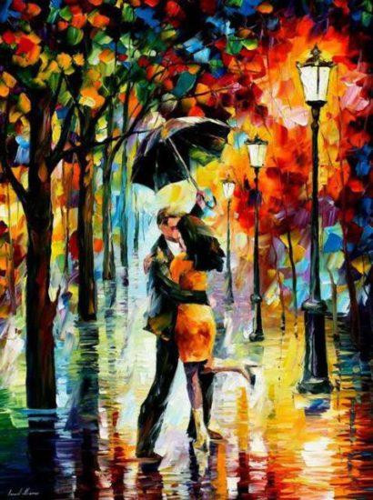 L.Afremov Osen 1 410x550 А вы давно гуляли под дождём?