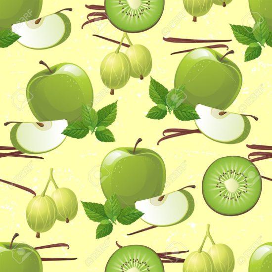 16962498 Seamless ornament with green fruits apple kiwi gooseberry Stock Photo 550x550 Продукты, ускоряющие обмен веществ и сжигающие жир